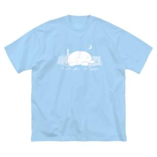 ウィンドウショッピングくらげ(夜・濃色用) Big silhouette T-shirts