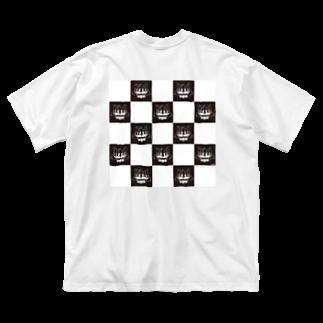 24DANGERの市松模様のネコ Big silhouette T-shirts