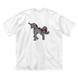 Aqua UNICORN Big silhouette T-shirts