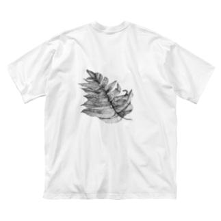 葉っぱ Big silhouette T-shirts