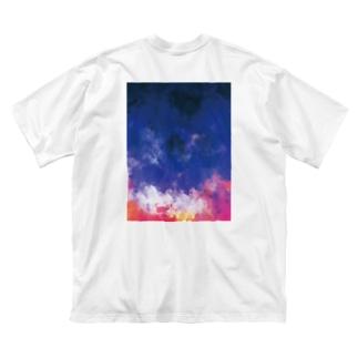 『背負ってSPICA BIG-T 白』 Big silhouette T-shirts