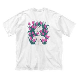 チューリップ畑(violet) Big silhouette T-shirts