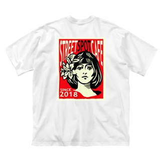 STREETSPOTCAFE001 red Big silhouette T-shirts