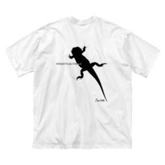 へばりつきトカゲーバックプリントー Big silhouette T-shirts