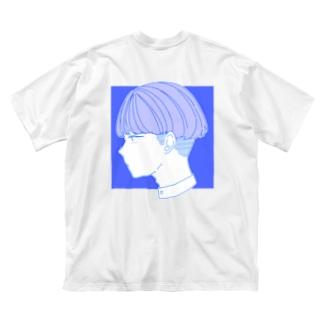 れれれのテケのブルーの子 Big silhouette T-shirts