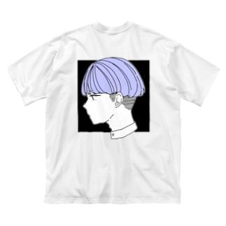 ブルーの子 黒ver Big silhouette T-shirts