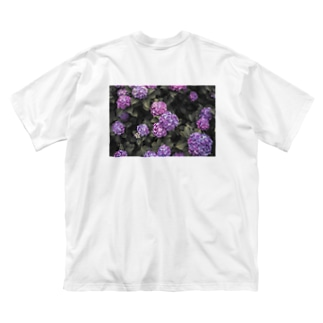 Hydrangea 紫陽花T purple Big silhouette T-shirts