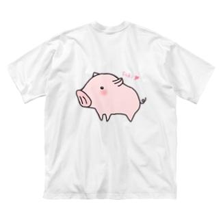 告白ブタさん(背面) Big silhouette T-shirts
