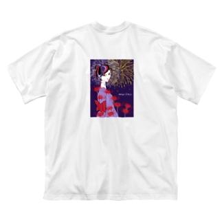 彼岸花火 バックプリント Big silhouette T-shirts