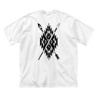 キリングネイティブ柄ブラック前後 Big silhouette T-shirts