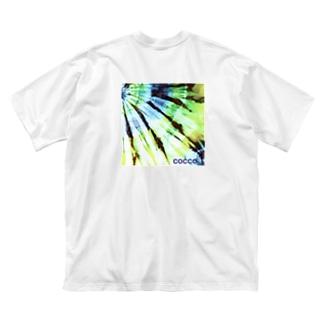 絞り染め・グリーン Big silhouette T-shirts