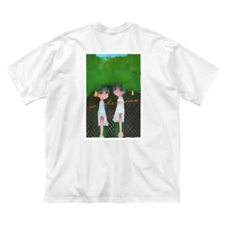 【バックプリント】ぼかし 夏の日のいちにし 大きめ Big silhouette T-shirts