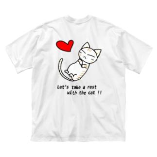 Sleeping cat!(茶) Big silhouette T-shirts