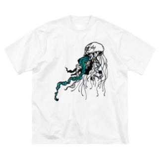 漂うクラゲ Big silhouette T-shirts