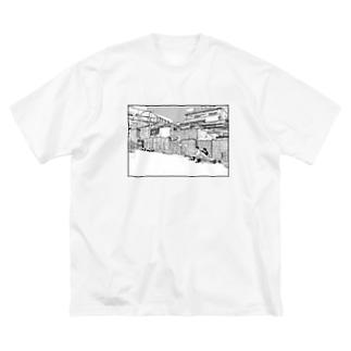 駅前 Big silhouette T-shirts
