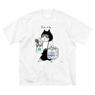 お買い物ねこ Big silhouette T-shirts