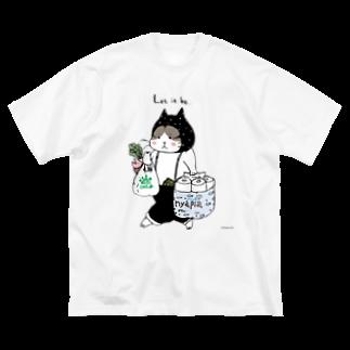 ほっかむねこ屋のお買い物ねこ Big silhouette T-shirts