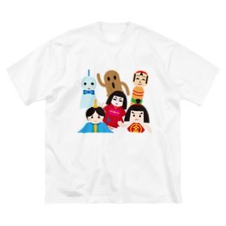 日本の人形ALL-hina doll and dolls of the world-お雛はんと世界の人形たち- Big silhouette T-shirts