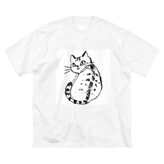 ふりむき、きじとら Big silhouette T-shirts