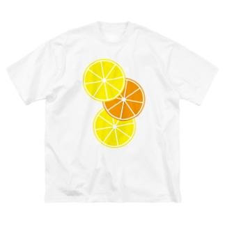 レモンとオレンジ Big silhouette T-shirts