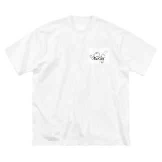 「ゃぁー」「ぷぅー」 Big silhouette T-shirts