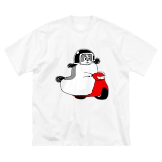 もじゃまるバイク移動 白黒 Big silhouette T-shirts