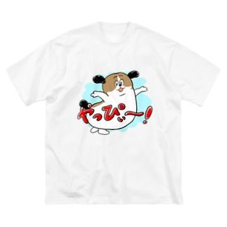 もじゃまるやっぴぃー! 水色 Big silhouette T-shirts
