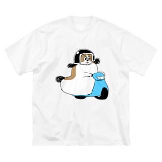 もじゃまるバイク移動 水色 Big silhouette T-shirts