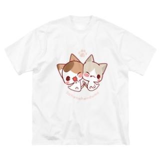 みけ&ぽち Big silhouette T-shirts