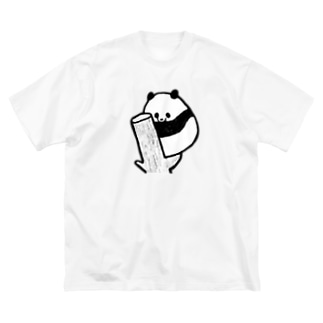 木登りねむねむパンダ Big silhouette T-shirts
