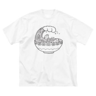 ラーメンUSA 線 Big silhouette T-shirts