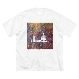花火の夜の大聖堂 Big silhouette T-shirts