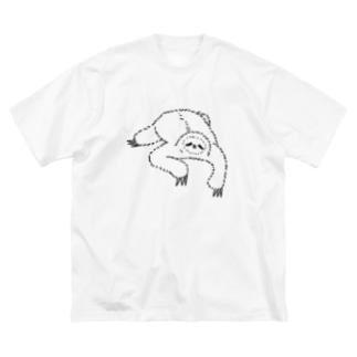 キューカンバー・ガールのsloth なまけもの(w/b) Big silhouette T-shirts