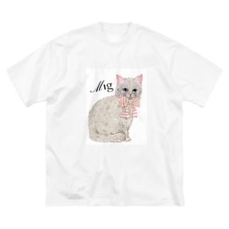 mignonne ミニョンヌのミニョンヌさんちのにゃんこ Big silhouette T-shirts