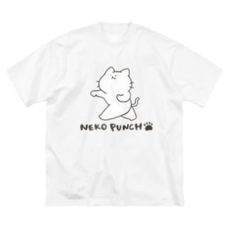 猫パンチ Big silhouette T-shirts