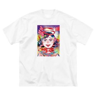 にくまん子の【魂の産物に百億回いいねしました】 Big silhouette T-shirts