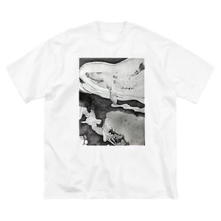 夢を運ぶクジラ Big silhouette T-shirts