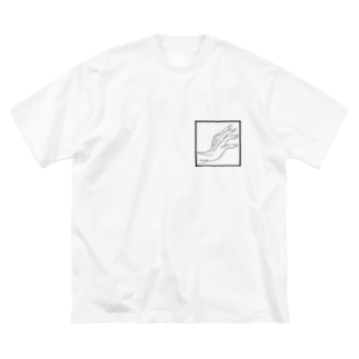 QB🦖のストークハンド(white) Big silhouette T-shirts