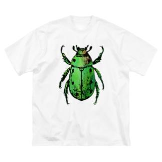 彩りコガネムシ(緑) Big silhouette T-shirts