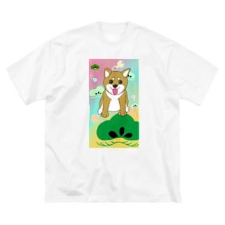 にこにこ柴犬 和柄② Big silhouette T-shirts