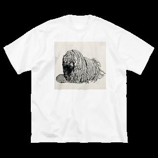 光平洋子のかしこいプーリー犬。ぷりぷり鉛筆画 Big silhouette T-shirts