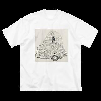 光平洋子のかしこいプーリー犬のイラスト  鉛筆画 歩く犬 Big silhouette T-shirts