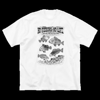 猫と釣り人のFishing_S2_K Big silhouette T-shirts
