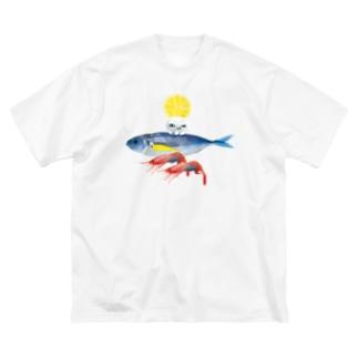 海のお友達とくらげ Big silhouette T-shirts