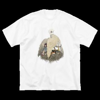 Dark blancoの鳥人間と少女 Big silhouette T-shirts