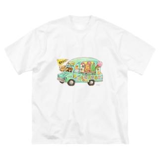 KU-MA アイスクリーム号 Big silhouette T-shirts