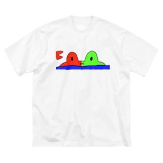かにカエル Big silhouette T-shirts
