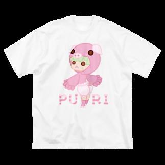 ウサネコのぷり☆コブタちゃん Big silhouette T-shirts