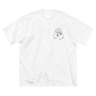 一筆書き woman Big silhouette T-shirts