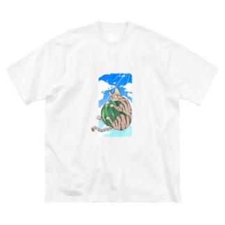 殿と夏/猫 Big silhouette T-shirts